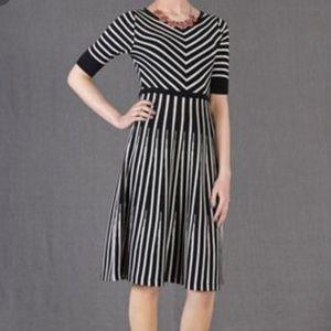 Boden Amelie Wool Black Striped Dress Size 18